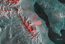Glacier avalanches in Tibet's Aru mountain range. Credit: contains modified Copernicus Sentinel-2 data (2016), processed by CCI Glacier team and ESA